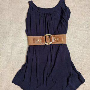 Navy Blue Shift Dress w/ Statement Belt